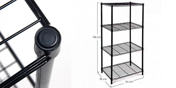 Estantería metálica negra con 4 baldas 91 Store oferta en AliExpress Plaza