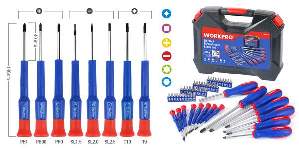 Juego 55 piezas de destornilladores de precisión Workpro oferta en AliExpress