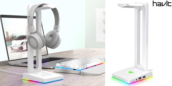 Soporte para auriculares Havit RGB con salida de 3,5 mm y 2 puertos de carga USB barato en AliExpress