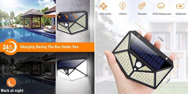 Pack x2 Luz Solar Exterior 150 LED Kilponen chollo en Amazon